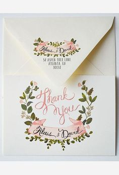Creative Wedding Thank You Cards: Greenery and Floral Wreath | Brides.com