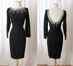 "Chic 1950s ""Lilli Diamond""  Dead Stock Designer Cocktail dress black Crepe Beaded Party Wiggle Dress Hourglass Pinup Size-Medium"
