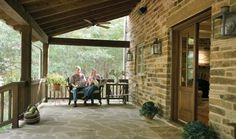 Front Porch of an East_Texas stone ranch home. I love the large stone lintels over windows and doors as well as the stonework