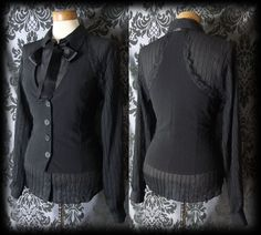 Gothic Black Fitted Pussy Bow IMMORTAL Corset Waistcoat 6 8 Victorian Steampunk - £24.00