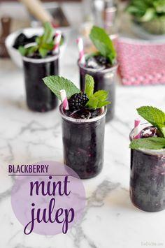 Blackberry mint julep with bourbon