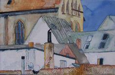 Musik am Nachmittag in Rostock | Detail an der Stadtmauer (c) Aquarell auf Leinwand von Frank Koebsch