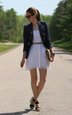 White cotton dress paired with a navy blazer  |  Laura Wears...