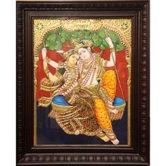 """Tanjore Painting - Swing Radha Krishna 18""""x14"""""""