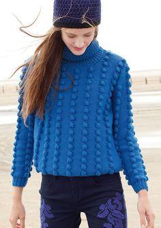 Blauen Pullover mit Noppen  selber stricken mit einer Strickanleitung aus Rebecca- mein Strickmagazin und dem ggh-Garn SPORTLIFE (100% Schurwolle superwash).  Garnpaket zu Modell 10 aus Rebecca Nr. 52
