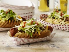 These easy hot dog recipes include bacon-wrapped hot dogs with avocado and hot dogs topped with cheddar and sauteed apples. Plus more hot dog recipes. Grilling Recipes, Wine Recipes, Beef Recipes, Great Recipes, Dog Food Recipes, Cooking Recipes, Favorite Recipes, Sausage Recipes, Bagels