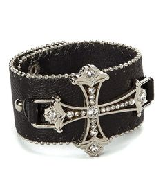 Look what I found on #zulily! Silvertone & Black Ornate Cross Bracelet #zulilyfinds