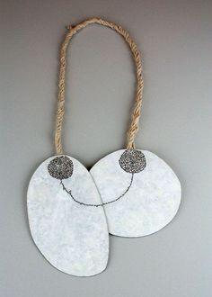 Satomi Kawai Necklace: Symbiosis II 2011 Steel, pigment, sterling silver, cotton Organza, cotton thread 19.5 x 16 x 1 cm, total height 43 cm Femininity series