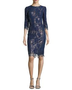 Metallic Cocktail Dress with Lace Overlay by Kalinka at Bergdorf Goodman. Lace