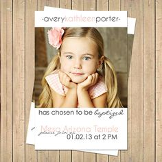 LDS Custom Baptism Photo Invitation  Boy/Girl by LemonsThatArePink, $9.00