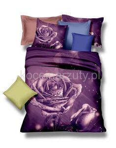 Trójwymiarowe pościele na łóżko w kolorze fioletowym z różą