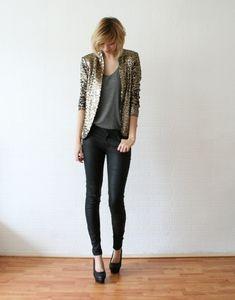 Shop this look on Lookastic:  http://lookastic.com/women/looks/gold-blazer-charcoal-tank-black-skinny-jeans-black-pumps/6164  — Gold Sequin Blazer  — Charcoal Tank  — Black Skinny Jeans  — Black Leather Pumps