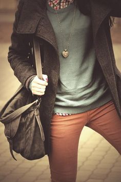 muted skinny pants, plain sweater, plaid button-up, peacoat, long necklace, messenger bag