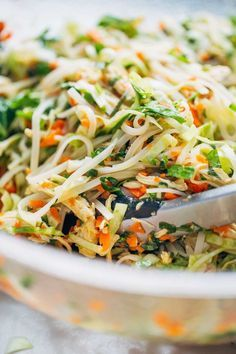 Vietnamese Chicken Salad with Rice Noodles made with chicken cabbage carrots homemade dressing lime juice mint and cilantro. Asian Recipes, Healthy Recipes, Ethnic Recipes, Vietnamese Recipes, Vietnamese Food, Vietnamese Chicken Salad, Clean Eating, Healthy Eating, Chicken Salad Recipes