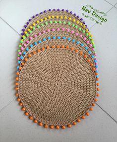 Best 12 Tahitian+Border+Placemat+by+Deborah+Rhodes+at+Neiman+Marcus. Crochet Placemats, Crochet Table Runner, Crochet Doilies, Crochet Designs, Crochet Patterns, Hemp Yarn, Macrame Design, Crochet Round, Boho Diy