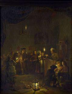 Michiel Versteegh | Evening School, Michiel Versteegh, 1786 | De avondschool. Interieur met een klas van de avondschool bij kaarslicht. Leerlingen staan in de rij om hun werk door de schoolmeester te laten nakijken. Op de voorgrond rechts is een jongen aan het schrijven of tekenen, op de vloer staat een lantaarn.