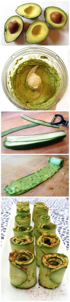 CUCUMBER AVOCADO ROLLS | These rolls are made of healthy ingredients. You can do it immediately during party. They are fresh, moist and unusual. It's the right solution for improvement your companionship.