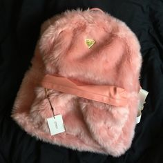 OVERSIZED FLUFFY PINK FUR JOYRICH BACKPACK ~ BRAND NEW ~ TAGS + PLASTIC STILL ON