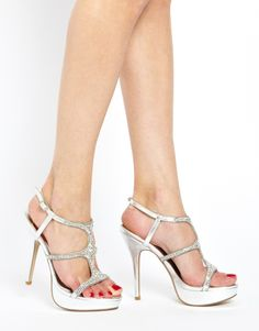 Faith Larkings Embellished Silver Heeled Sandals