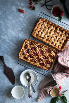 Cherry & White Balsamic Slab Pie – The Kitchen McCabe These lattice crust cherry slab pies are both gorgeous and delicious. A win-win! Tart Recipes, Dessert Recipes, Slab Pie, Sweet Pie, Sweet Tooth, Food Photography, Sweet Treats, Cookies, Baking