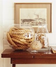 DIY Easy Beach House Decor - Rope in glass vase. Just throw some rope in a vase and you have instant beach house decor. Beach house decoration ideas and beach house decor at its finest. Home Living, Coastal Living, Coastal Decor, Coastal Cottage, Seaside Decor, Living Rooms, Coastal Colors, Rustic Decor, Coastal Bedrooms