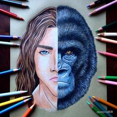 And this detailed drawing of Tarzan and Kerchak: | Community Post: You Have To See These Gorgeous Disney Mash-Up Drawings