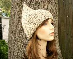 Hand Knit Hat Womens Hat - Gnome Hat in Oatmeal - READY TO SHIP - Fall Fashion Autumn Fashion Autumn Accessories. $30.00, via Etsy.