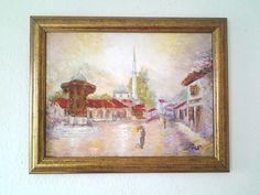 *Sarajevo Bascarsija* Original oil painting textured artwork