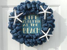 Beach Wreath, Nautical wreath, Starfish wreath, Seashore wreath, blue burlap wreath, Ready to ship