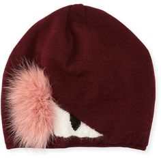 faf7538fb19 Fendi Wool Monster Beanie Hat w  Fur (1.440 RON) ❤ liked on Polyvore