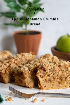 Vegan Apple Cinnamon Crumble Bread is an essential part of the Fall season. It's perfectly sweet and moist, a balance between soft and crunchy, and 100% delicious with the perfect amounts of Apple + Spice flavors! It takes less than 10 minutes to whip together and makes for a great healthy alternative for a little sweetness in the morning for breakfast or even for dessert. Oil-free, Gluten-free option available. #applebread #vegan #fallrecipe #bread #apple #dairyfree #glutenfree #dessert Cinnamon Crumble, Apple Cinnamon, Best Homemade Bread Recipe, Homemade Breads, Sweet Tea Recipes, Apple Recipes, Bread Recipes, Apple Bread, Crumble Topping