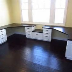 """Possible desk idea. I definitely want our computers on one two person desk. Probably with his television in the center. With maybe a home office desk in the """"closet"""" space."""
