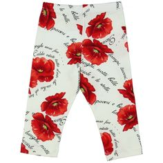 Monnalisa Girl's White Leggings with Red Floral Print. Available now at www.chocolateclothing.co.uk #childrenswear #minifashion #Monnalisa #chocolateclothing