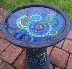 Handcut glass and ceramic mosaic birdbath. by RebeccaNaylorMosaics