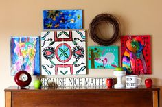 Mod Podge your kids' art for an awesome display.  I could see taking a large canvas and doing a collage with lots of pieces.
