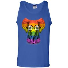 Baby Elephant with Glasses and Gay Pride Rainbow Flag T-Shirt