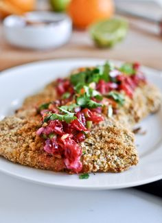 Citrus crusted tilapia with blood orange salsa. Makes tilapia special Fish Recipes, Seafood Recipes, Cooking Recipes, Healthy Recipes, Tilapia Recipes, Delicious Recipes, Chicken Recipes, Yummy Food, Fish Dishes