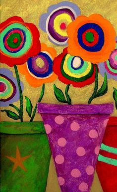 Modern Folk Art ABSTRACT FLOWERS Original by johnblakefolkartist