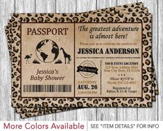 Safari Passport Baby Shower Invitation by PuggyPrints on Etsy