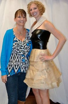 Third place winner Tanya Myers and her model Darcy Koch. In its first life, Darcy's collar was a lamp shade. — with Tanya Kalinec Myers and Darcy Koch. Fashion Competition, Goodwill Industries, Unique Outfits, Third, Model, Stuff To Buy, Life, Style, Swag