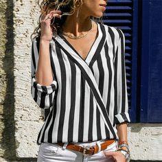 ZOGAA Women Striped Blouse Shirt Long Sleeve Blouse V-neck Shirts Casual Tops Blouse Chemisier Femme Blusas Mujer de Moda 2019 GoodThingMyThing Striped Long Sleeve Shirt, Long Sleeve Tops, Long Sleeve Shirts, V Neck Shirts, Shirt Blouses, Summer Dress, Spring Summer, Summer Ootd, Casual Tops
