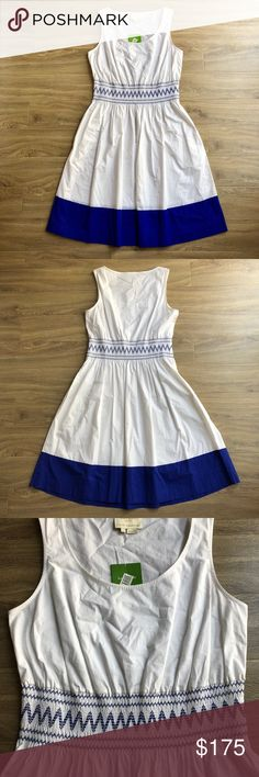 """NWT Kate Spade smocked poplin stretch cotton dress Crisp white cotton with royal blue hem and embroidery creates a classy casual fit & flare look.  NWT Smocked poplin U-neck Sleeveless Fit and flare Embroidered zigzags circle smocked waist Indigo stripe at bottom hem Side pockets Slips over head Bust: 18"""" approx. laying flat Length: 41"""" approx. laying flat 97% cotton, 3% elastane Dry clean  Bundle discount No trades Smoke free, pet friendly home kate spade Dresses"""
