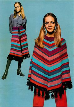 Vintage Machine knitting pattern-Twiggy models 1960s mod striped poncho & skirt | eBay