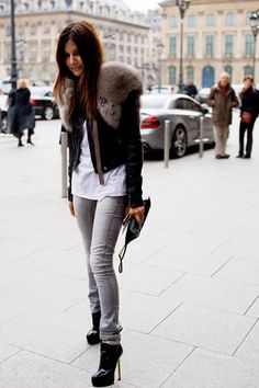 christine centenera, fur grey scarf, black leather coat, t-shirt, grey jeans, stiletto heel boots