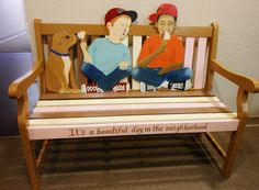 """""""It's a beautiful day in the #neighborhood."""" Front #porch #bench #art by Liza Ferris Terzich for the Trellis #GoodNeighbor Initiative"""