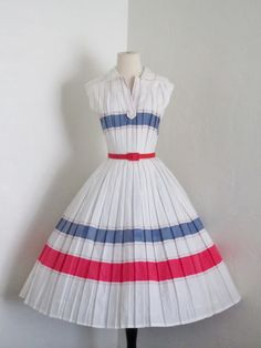 1950's Carlye pleated sailor full skirt dress