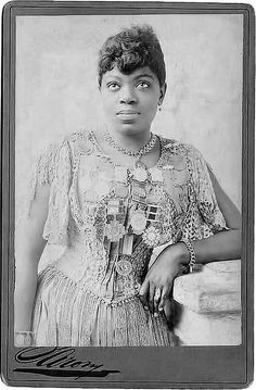 "Matilda Sissieretta Joyner Jones (1868-1933) African-American soprano sometimes called ""The Black Patti"" in reference to Italian opera singer Adelina Patti. In June 1892, Jones became the first African-American to sing at the Music Hall in New York (Now known as Carnegie Hall.) Touring internationally in the late 1800s and early 1900s, she sang both classical opera and performed in musical comedies with her own troupe. Photo taken 1889."