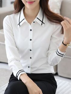Autumn Spring Chiffon Turn Down Collar Plain Long Sleeve Blouses Ladies Shirts Formal, Smart Casual Women, Girl Fashion, Fashion Outfits, Fashion Blouses, Blazers, Chiffon Tops, Chiffon Blouses, Collar Shirts