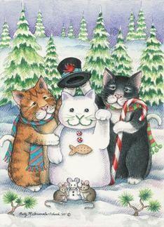 Cats W/Snowman & Mice Christmas (Bud & Tony) card I Love Cats, Crazy Cats, Cute Cats, Funny Cats, Cat Christmas Cards, Christmas Animals, Kittens Cutest, Cats And Kittens, Frida Art