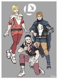 alternate Legion of Super Heroes, DC Comics, deviantart, original 3, founders (groovy art by Ramon Villalobos)